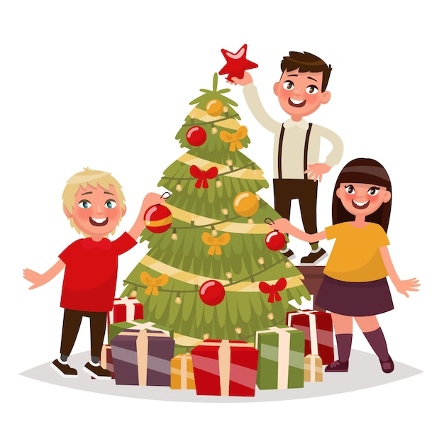 Gelukkige kinderen versieren de kerstboom. illustratie Premium Vector