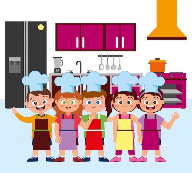 Gelukkige kinderenchef-koks die beeldverhaal glimlachen Premium Vector