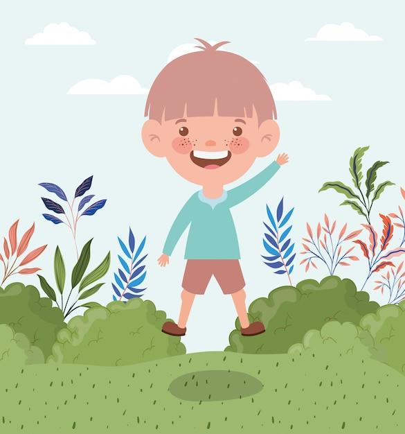 Gelukkige kleine jongen in het landschap Gratis Vector
