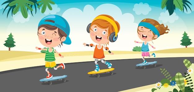 Gelukkige kleine kinderen buiten skateboarden Premium Vector