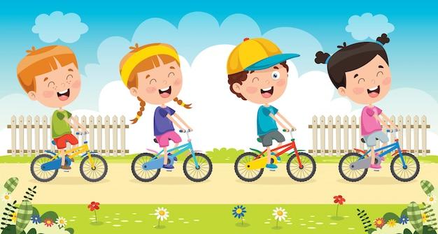 Gelukkige kleine kinderen rijden fiets set Premium Vector