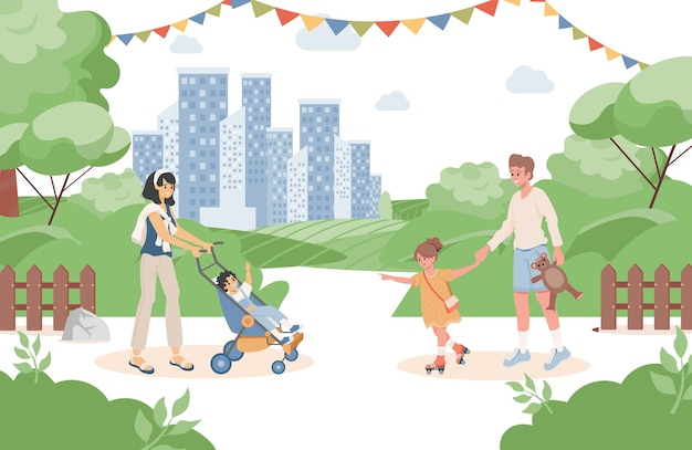 Gelukkige lachende ouders met hun kinderen wandelen in het stadspark bij zomer vlakke afbeelding. Premium Vector
