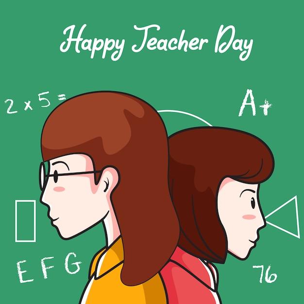 Gelukkige leraar dag achtergrond Premium Vector