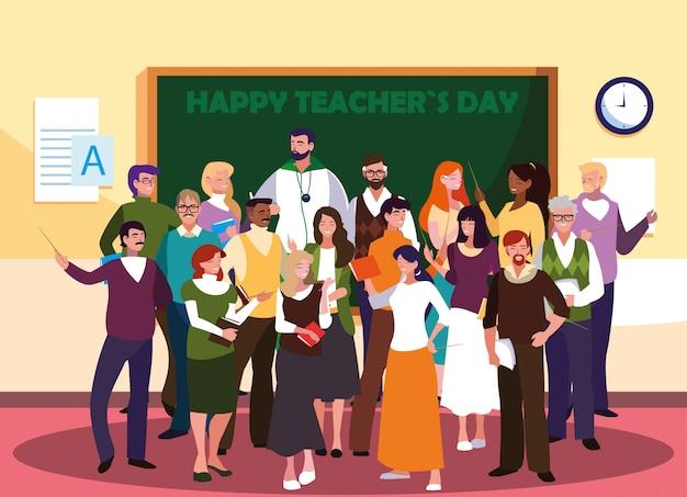 Gelukkige lerarendag met groep leraren Premium Vector