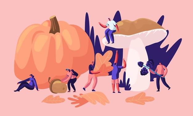 Gelukkige mannelijke en vrouwelijke personages brengen tijd buitenshuis door in de herfst Premium Vector