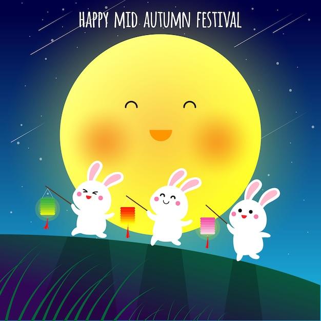 Gelukkige medio herfst festival illustraion Premium Vector