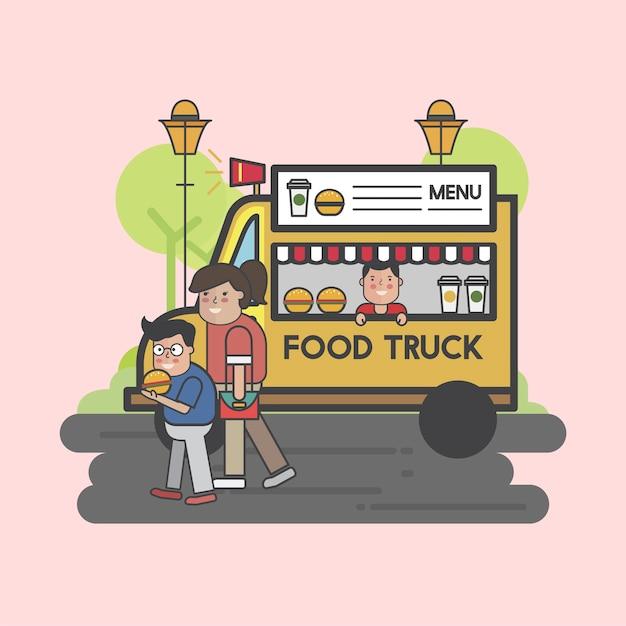 Gelukkige mensen bij een foodtruck Gratis Vector