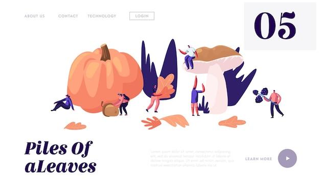 Gelukkige mensen brengen tijd buiten door in de herfst, halen gevallen bladeren, paddestoelen, bessen, pompoen, eikels herfstactiviteit op. website-bestemmingspagina, webpagina. Premium Vector