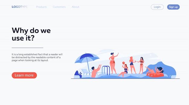 Gelukkige mensen genieten van zwembadfeest Gratis Vector