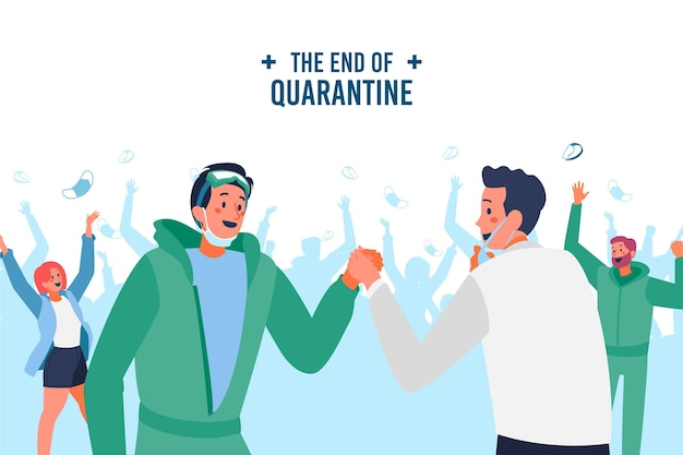Gelukkige mensen juichen einde van de quarantaine Gratis Vector