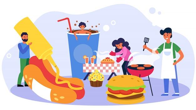 Gelukkige mensen koken zoet en fast food Gratis Vector