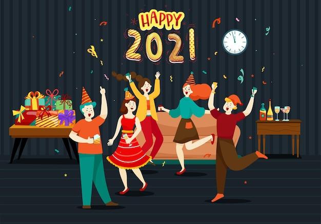 Gelukkige mensen of kantoorpersoneel, werknemers hebben grote cijfers in 2021. groep vrienden of team wensen prettige kerstdagen en een gelukkig nieuwjaar Gratis Vector