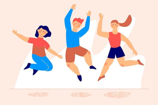 Gelukkige mensen springen jeugddag evenement Gratis Vector