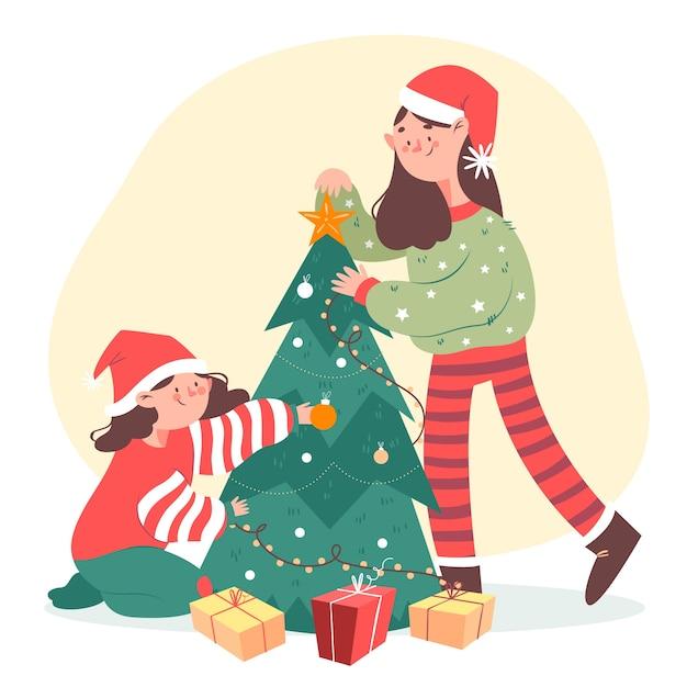 Gelukkige mensen versieren kerstboom Gratis Vector