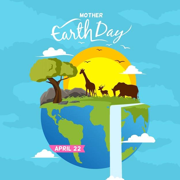 Gelukkige moeder aarde dag achtergrond Premium Vector