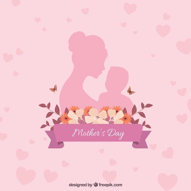 Gelukkige moederdag achtergrond met familie Gratis Vector