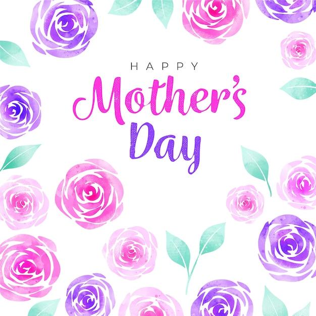 Gelukkige moederdag aquarel rozen Gratis Vector
