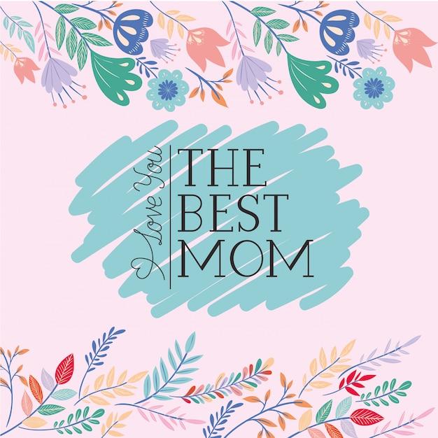 Gelukkige moederdag kaart met kruiden frame Premium Vector