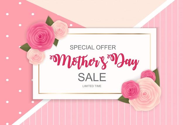 Gelukkige moederdag leuke verkoop banner Premium Vector