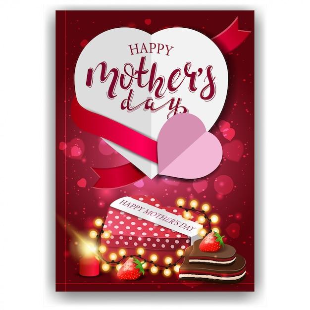 Gelukkige moederdag, moderne rode gelukwensprentbriefkaar Premium Vector