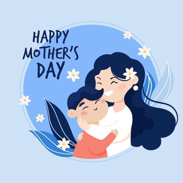 Gelukkige moederdag moeder en kind plat ontwerp Gratis Vector