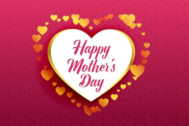 Gelukkige moederdag mooie harten achtergrond Gratis Vector