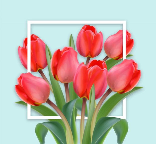 Gelukkige moederdag tulpenkaart Premium Vector