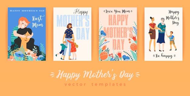 Gelukkige moederdag. wenskaart met vrouwen en kinderen. Premium Vector
