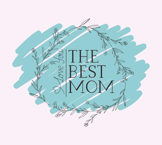 Gelukkige moeders dag kaart met kruiden circulaire frame Premium Vector