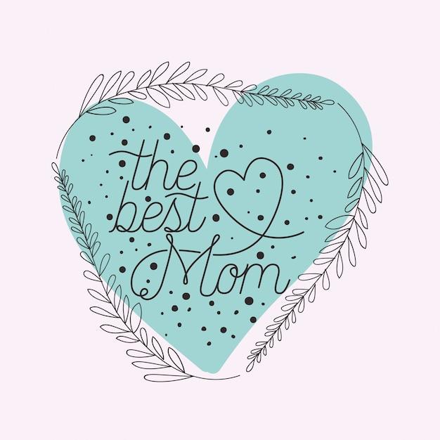 Gelukkige moeders dag kaart met kruiden hart frame Premium Vector