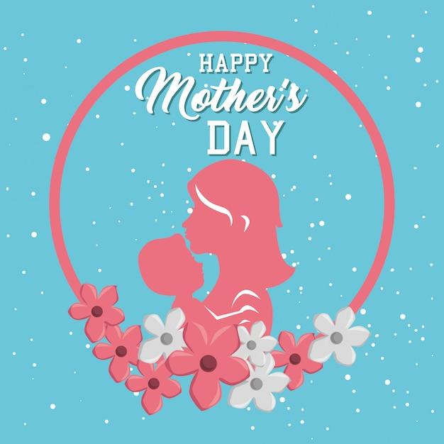 Gelukkige moeders dag kaart met moeder en zoon silhouet Gratis Vector