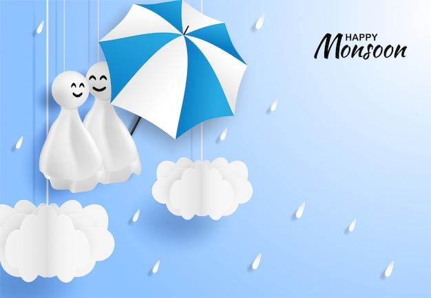 Gelukkige moesson, regenachtige seizoen achtergrond Premium Vector