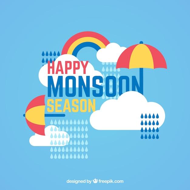Gelukkige moessonachtergrond met paraplu en wolken in plat ontwerp Gratis Vector