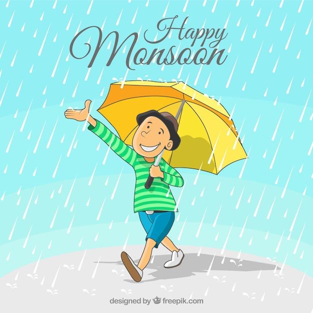 Gelukkige moessonachtergrond van jongen met hand getrokken paraplu Gratis Vector