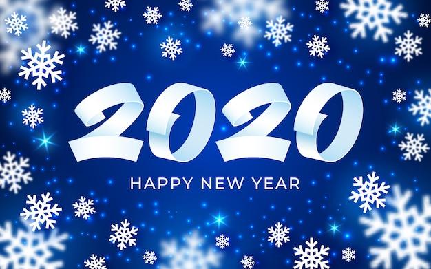 Gelukkige nieuwe het jaarachtergrond van 2020, witte, blauwe cijfertekst, 3d abstracte kaart van de sneeuwvlokkenwinter Premium Vector