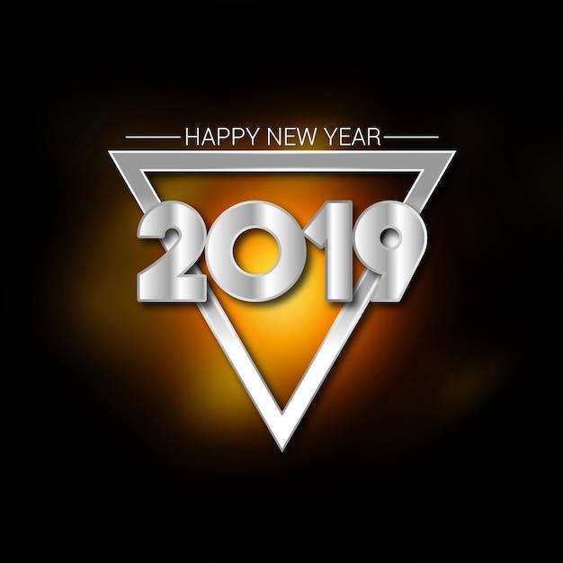 Gelukkige nieuwe jaar 2019 typografie met creatieve ontwerpvector Gratis Vector