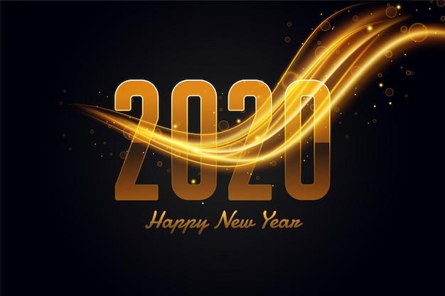 Gelukkige nieuwe jaar gouden en zwarte mooie groet Gratis Vector