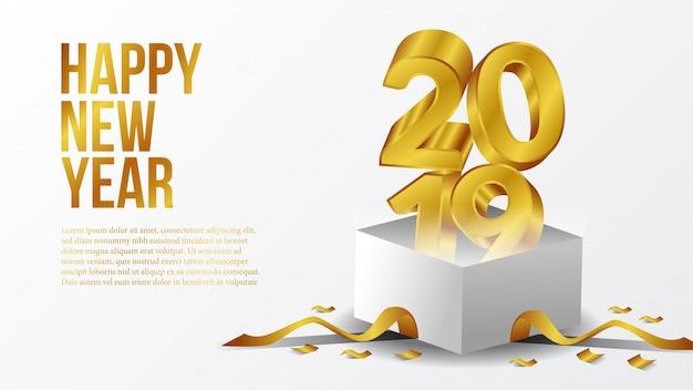 Gelukkige nieuwe jaarpartij met 3d goud met open doos Premium Vector