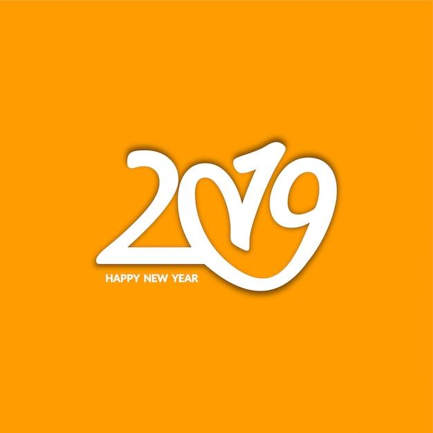 Gelukkige nieuwjaar 2019 decoratieve moderne achtergrond Gratis Vector