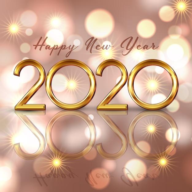 Gelukkige nieuwjaarachtergrond met gouden het van letters voorzien en bokeh lichtenontwerp Gratis Vector