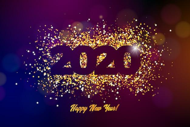 Gelukkige nieuwjaarillustratie met glanzend aantal Gratis Vector