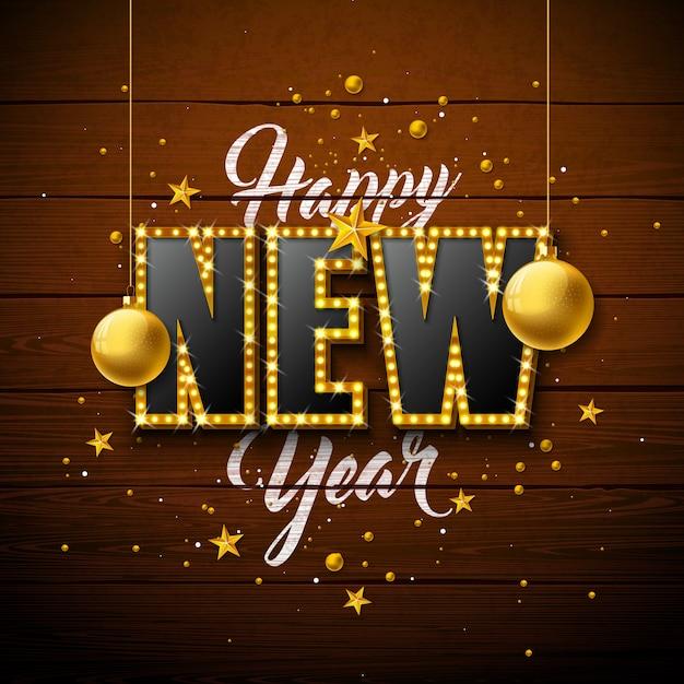 Gelukkige nieuwjaarillustratie met het 3d van letters voorzien van de gloeilamptypografie en kerstmisbal Gratis Vector