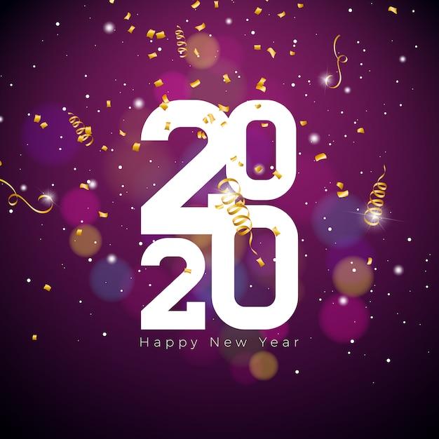 Gelukkige nieuwjaarillustratie met wit aantal en dalende confettien Gratis Vector