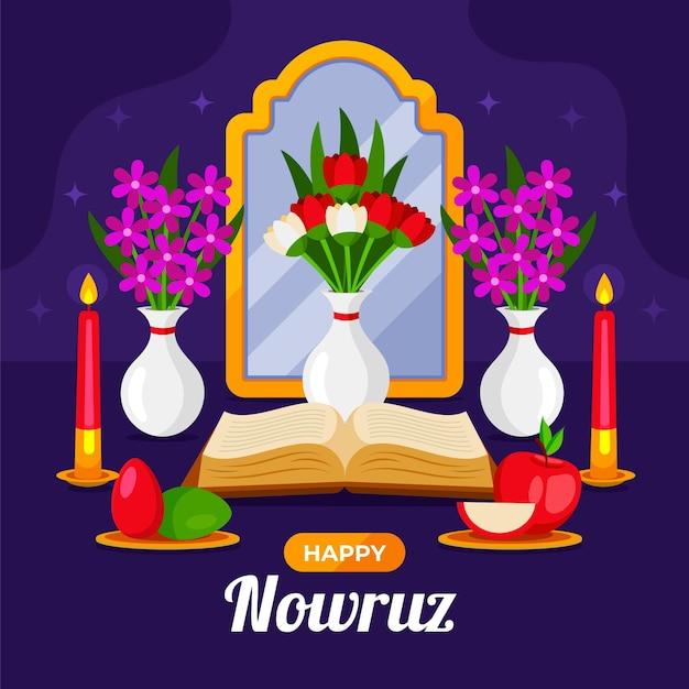 Gelukkige nowruz-illustratie met spiegel en appel Gratis Vector