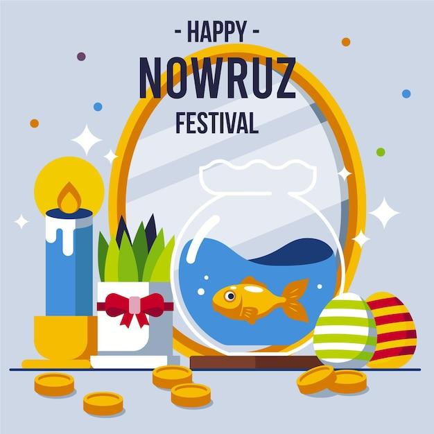 Gelukkige nowruz-illustratie met spiegel en vissenkom Gratis Vector