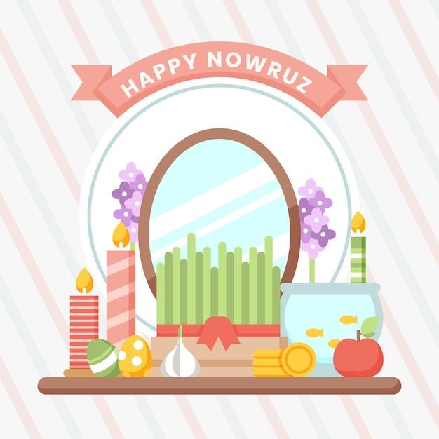 Gelukkige nowruz-illustratie met spruiten en spiegel Gratis Vector