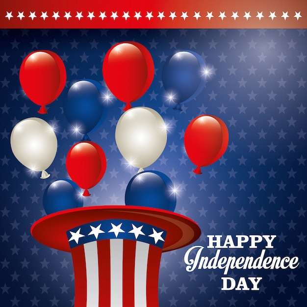 Gelukkige onafhankelijkheidsdag, 4 juli viering in de verenigde staten van amerika Gratis Vector