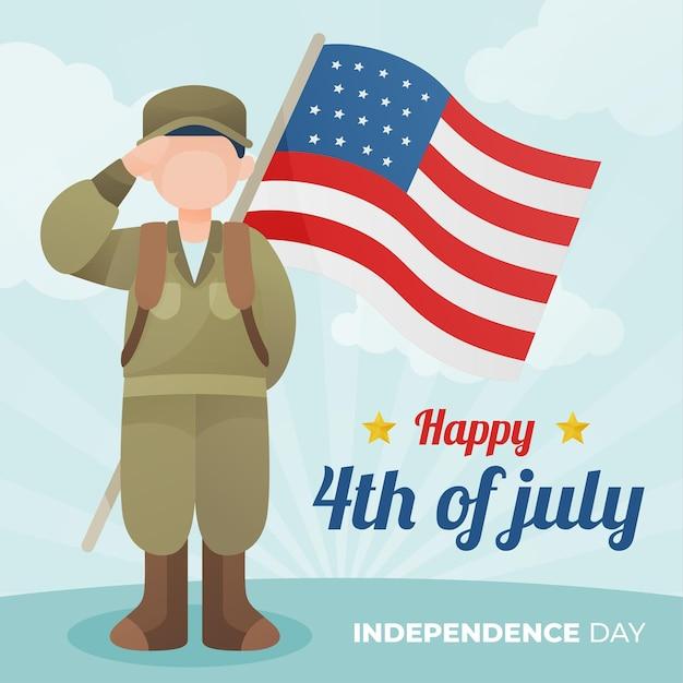 Gelukkige onafhankelijkheidsdag met soldaat en vlag Gratis Vector