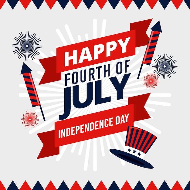 Gelukkige onafhankelijkheidsdag met vuurwerk en hoed Gratis Vector