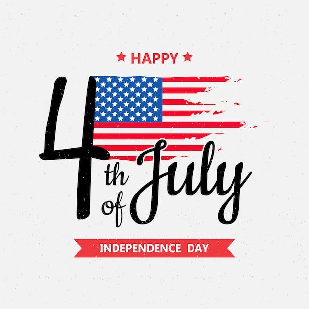 Gelukkige onafhankelijkheidsdag of 4 juli Premium Vector